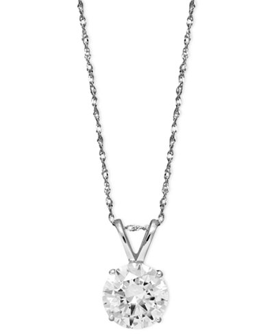 Arabella 14k White Gold Necklace, Swarovski Zirconia Round Pendant (2-1/6 ct. t.w.)