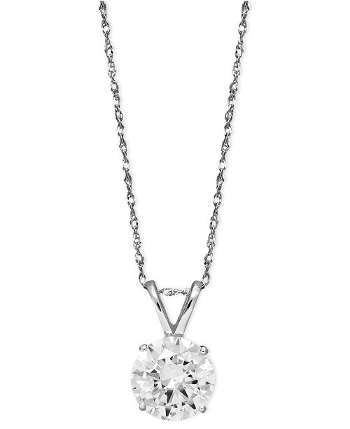 Arabella 14k White Gold Necklace Swarovski Zirconia Round Pendant 2 1 6 Ct T W Reviews Necklaces Jewelry Watches Macy S