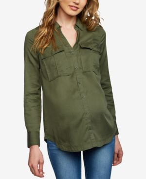 Image of A Pea In The Pod Maternity Button-Front Shirt