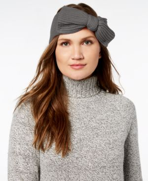 Bow Knit Headband - Grey, Heather Grey