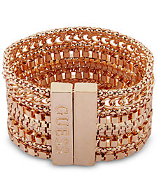 GUESS Gold-Tone Multi-Chain Magnetic Flex Bracelet