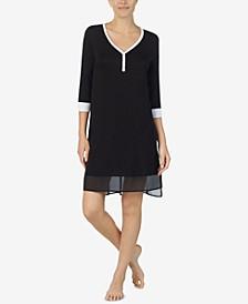 Women's Colorblocked Chiffon-Hem Sleepshirt Nightgown