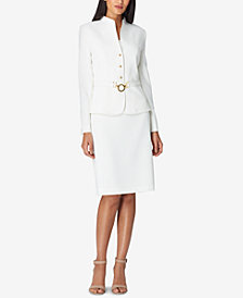 Tahari ASL Belted Collarless Skirt Suit, Regular & Petite