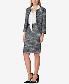 Tahari ASL Bouclé Jacket, Ruffled Blouse & Pencil Skirt
