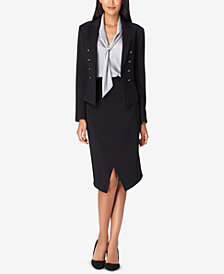 Tahari ASL Double-Breasted Jacket, Skirt & Tie-Neck Blouse