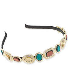 I.N.C. Gold-Tone Pavé & Stone Satin-Wrapped Headband, Created for Macy's