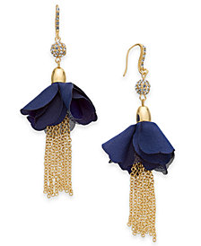 I.N.C. Gold-Tone Crystal Bead, Fabric Flower & Chain Tassel Drop Earrings, Created for Macy's