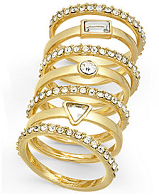 I.N.C. Gold-Tone 7-Pc. Set Crystal Stackable Rings, Created for Macy's