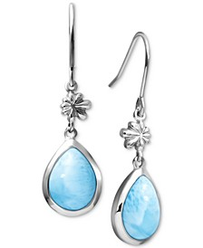 Larimar Flower & Teardrop Drop Earrings in Sterling Silver