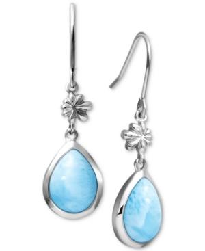 Larimar Flower & Teardrop Drop Earrings in Sterling Silver