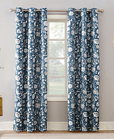 Sun Zero Jorah Botanical Print Thermal Insulated Grommet Curtain Panel Collection