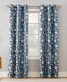 Sun Zero Jorah Botanical Print Thermal Insulated Grommet Curtain Panel Collection