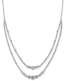 """Danori Silver-Tone Crystal & Stone Double-Layer Necklace, 16"""" + 1"""" extender, Created for Macy's"""