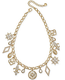 "Charter Club Gold-Tone Crystal Charm Collar Necklace, 17"" + 2"" extender, Created for Macy's"