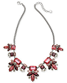 "Charter Club Silver-Tone Crystal & Stone Flower Statement Necklace, 17"" + 2"" extender, Created for Macy's"