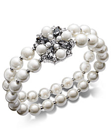 Charter Club Silver-Tone Imitation Pearl, Stone & Crystal Double Row Stretch Bracelet, Created for Macy's