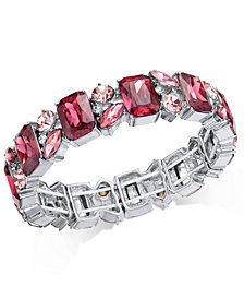 Charter Club Silver-Tone Stone & Crystal Cluster Stretch Bracelet, Created for Macy's