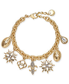 Charter Club Gold-Tone Crystal Charm Bracelet, Created for Macy's
