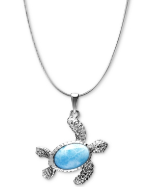"""Larimar Turtle 21"""" Pendant Necklace in Sterling Silver"""