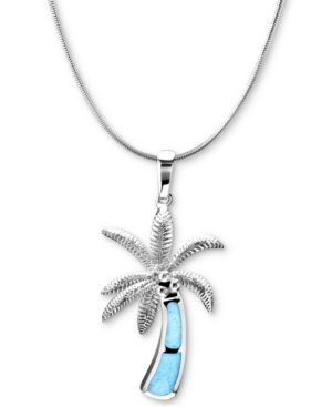 """Larimar Inlay Palm Tree 21"""" Pendant Necklace in Sterling Silver"""