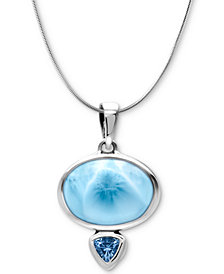 "Marahlago Larimar & Blue Spinel 21"" Pendant Necklace in Sterling Silver"