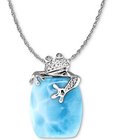 "Marahlago Larimar & White Sapphire (1/10 ct. t.w.) Frog 21"" Pendant Necklace in Sterling Silver"
