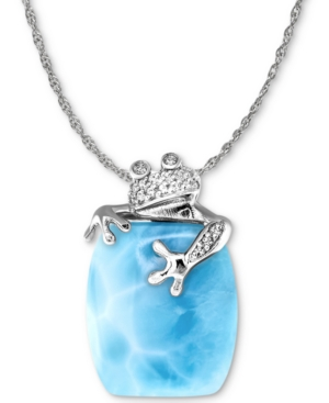 Marahlago Larimar & White Sapphire (1/10 ct. t.w.) Frog 21