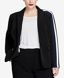 RACHEL Rachel Roy Trendy Plus Size Striped One-Button Blazer
