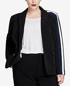 RACHEL Rachel Roy Trendy Plus Size Striped One-Button Blazer