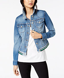 I.N.C. Varsity-Stripe Denim Jacket, Created for Macy's