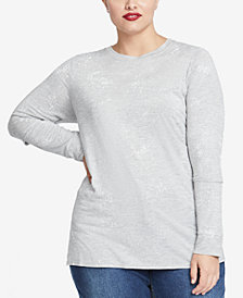 RACHEL Rachel Roy Trendy Plus Size Foil-Print Slit-Sleeve T-Shirt