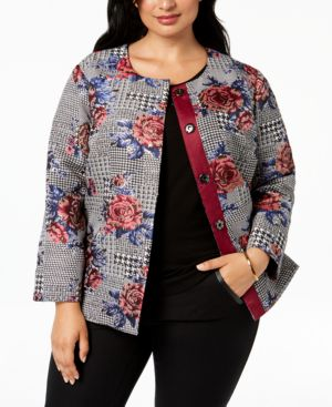 Image of Alfani Plus Size Printed Collarless Jacket, Created for Macy's