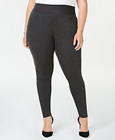 I.N.C. Plus Size Ponté-Knit Smoothing Leggings, Created for Macy's