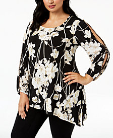 JM Collection Plus Size Floral-Print Split-Sleeve Tunic Top, Created for Macy's