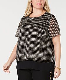 MICHAEL Michael Kors Plus Size Metallic-Print Split-Back Top