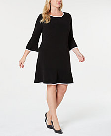 MICHAEL Michael Kors Plus Size Drop-Waist Ruffle-Hem Dress