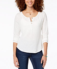 American Rag Juniors' Ruffled-Back Henley Top, Created for Macy's