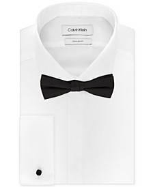 X Men's Extra-Slim Fit Formal White French Cuff Tuxedo Dress Shirt & Pre-Tied Solid Bow Tie Set