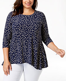 Anne Klein Plus Size Dot-Print High-Low Top