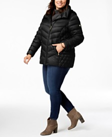 Michael Michael Kors Plus Size Hooded Down Puffer Coat, Created for Macy's