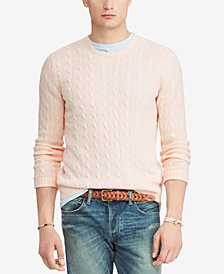 Polo Ralph Lauren Men's Pink Pony Cable Knit Cashmere Sweater
