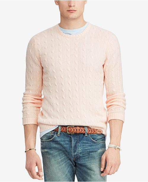 Polo Ralph Lauren Mens Pink Pony Cable Knit Cashmere Sweater