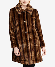 Lauren Ralph Lauren Single-Breasted Faux-Fur Coat