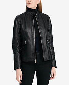 Lauren Ralph Lauren Zip-Front Leather Moto Jacket