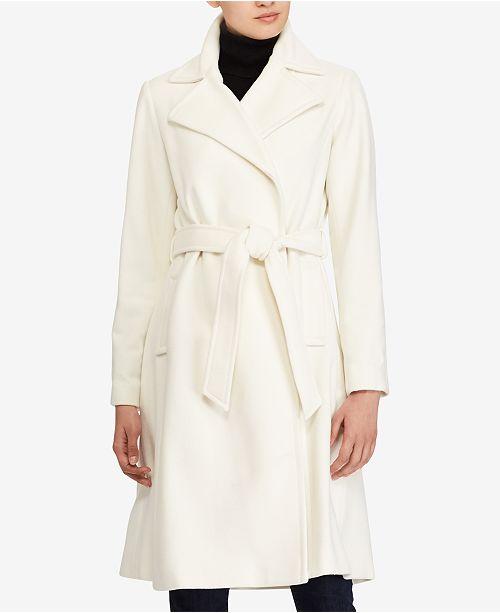 Wool-Cashmere Blend Notch Collar Wrap Coat