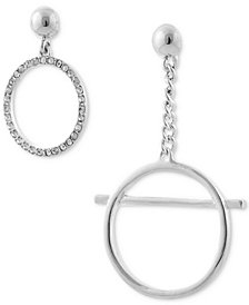 GUESS Silver-Tone Crystal Circle Mismatch Drop Earrings