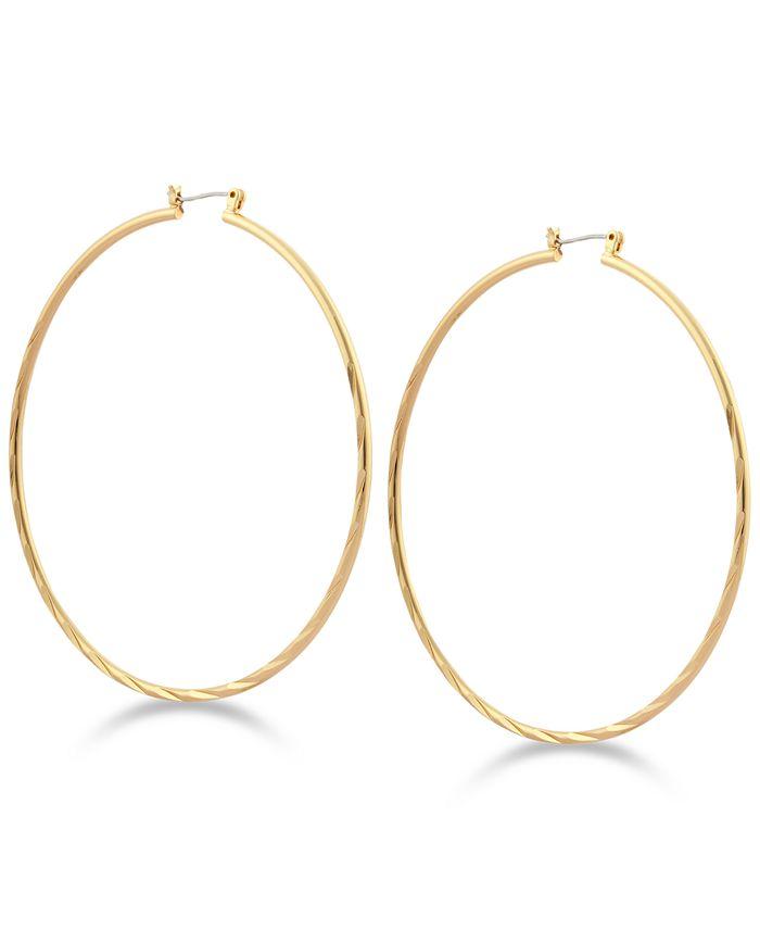 GUESS - Textured Hoop Earrings
