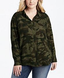 Jessica Simpson Trendy Plus Size Camo-Print Shirt