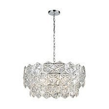 Lalique 5 Light Pendant, Polished Chrome
