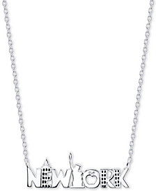 "Unwritten New York City 18"" Pendant Necklace in Sterling Silver"